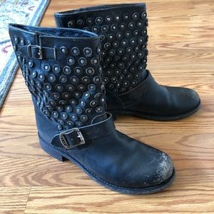 Frye Distressed Black Motorcycle Boots